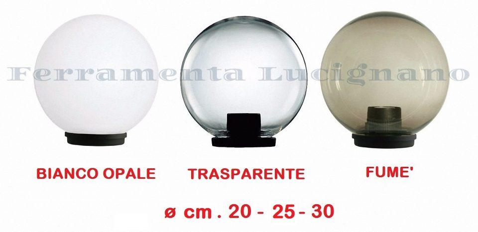 SFERE PALLE GLOBO LAMPIONI LUCI TRASPARENTE/' Ø 20-25-30 CM ILLUMINAZIONE ESTERNO