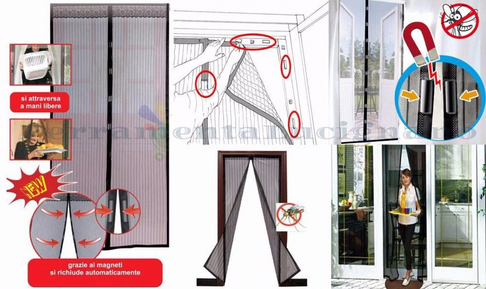 Zanzariera magnetica tenda a calamita 120 x 250 bianca x - Zanzariere magnetiche per finestre ...